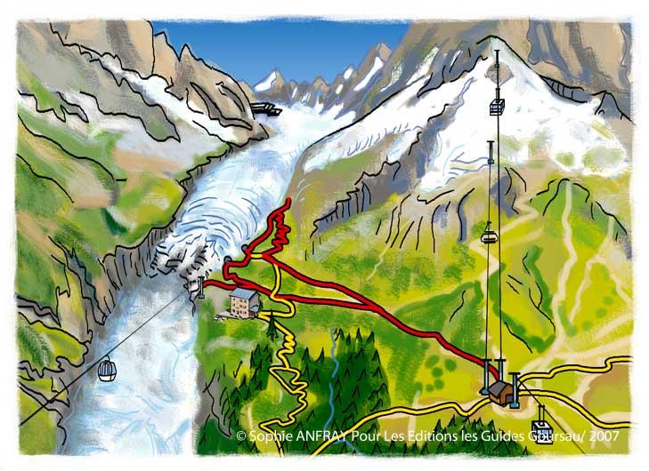 Illustration d'un circuit de balade vers le glacier d'Argentière.