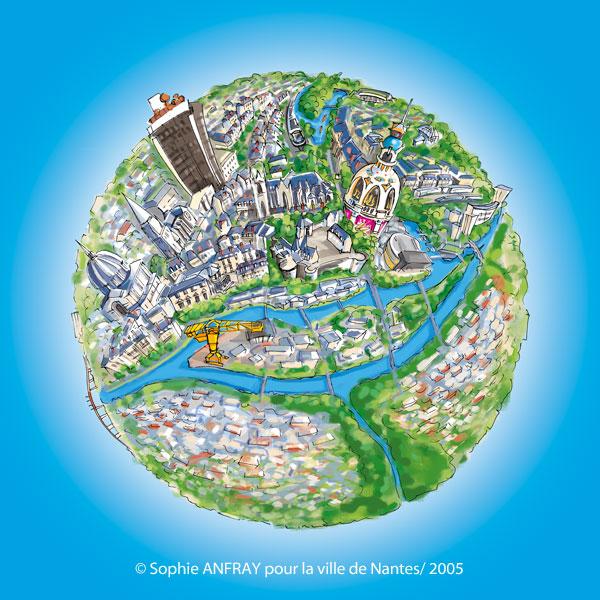 Ville de Nantes dessinée en planète.