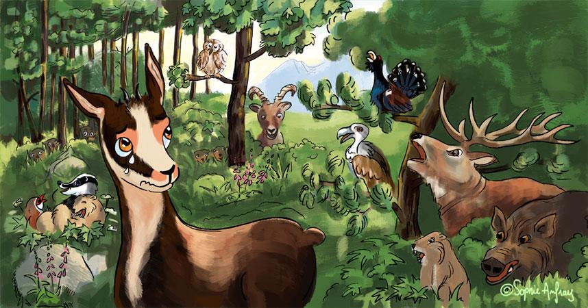 Petit isard entouré d'une multitude d'animaux de la forêt.