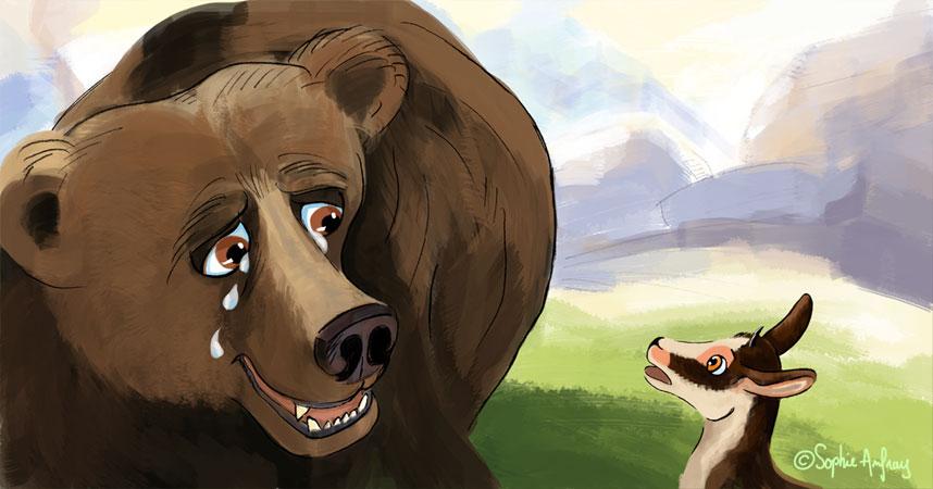 Un petit isard regarde un ours triste.