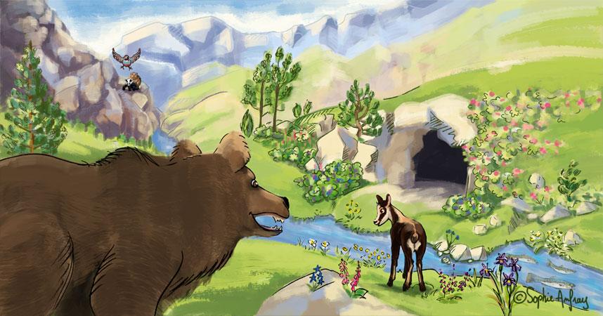 Un ours et un isard sont devant une grotte.