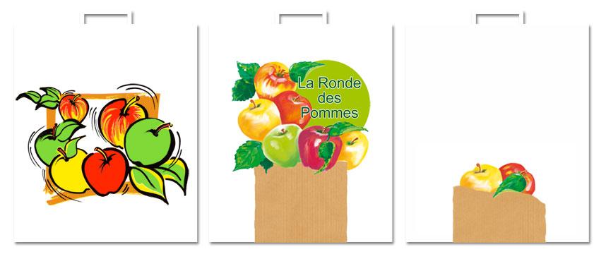 Trois sacs avec des motifs sur le thème des pommes.