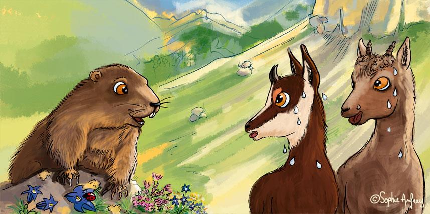 Une marmotte, un chamois et un bouquetin.