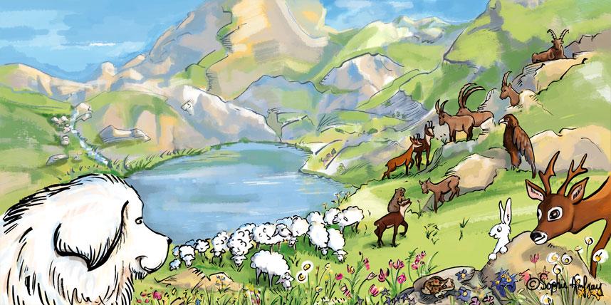 Paysage de montagne avec troupeau de moutons.