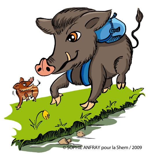 Dessin humoristique d'un sanglier avec un sac à dos de randonnée.