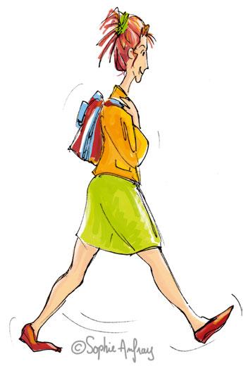 Femme en train de marcher.