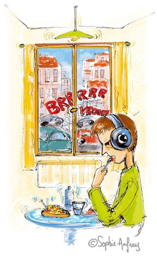 Personnage mange avec un casque anti-bruit pour se protéger du vacarme de la rue.