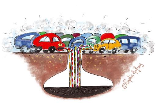 Illustration symbolique de voitures qui aspirent l'essence du sol avec des pailles.
