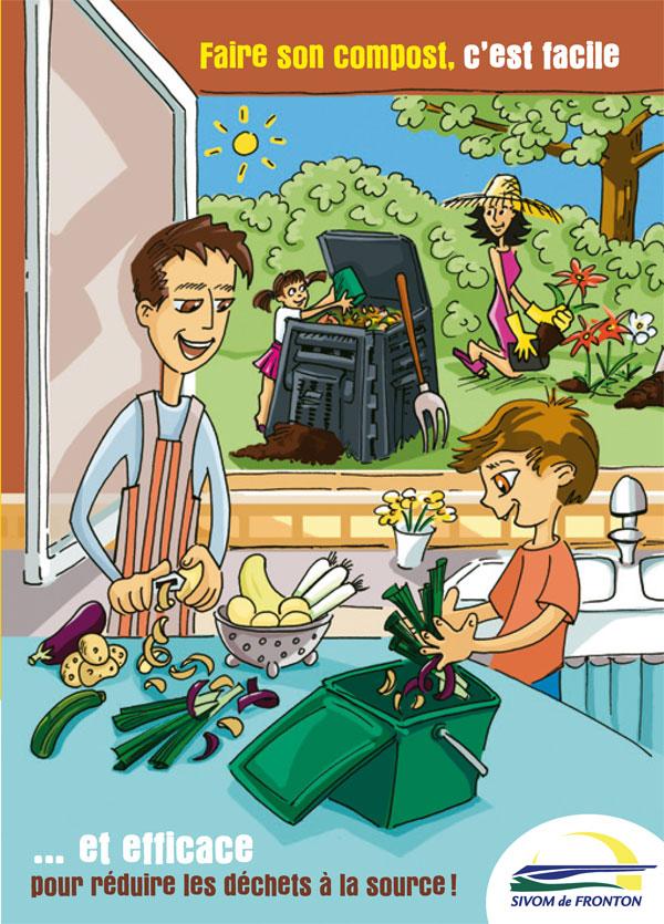 Père et fils à la cuisine quand mère et fille jardinent avec du compost.