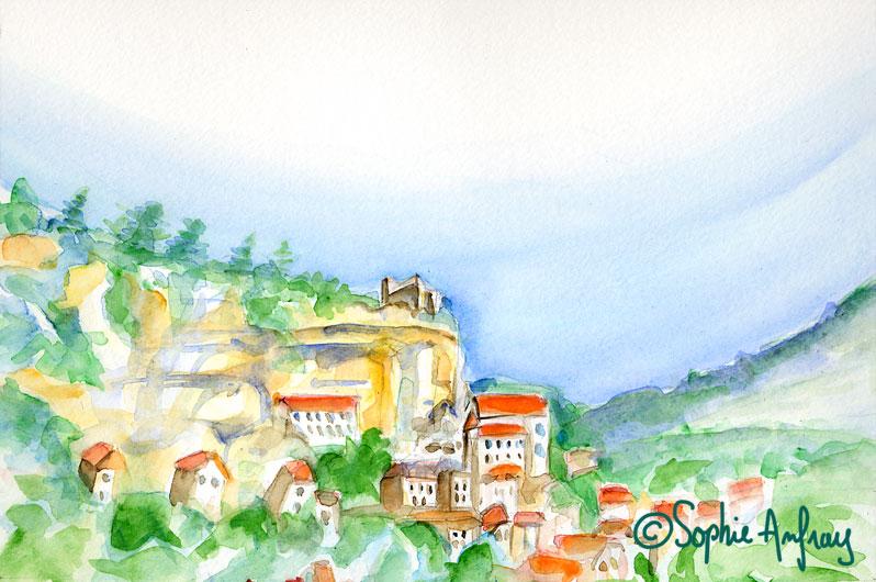 Aquarelle d'une vue de Rocamadour.