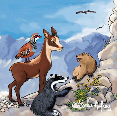 Un petit isard avec un blaireau, une marmotte et une perdrix.