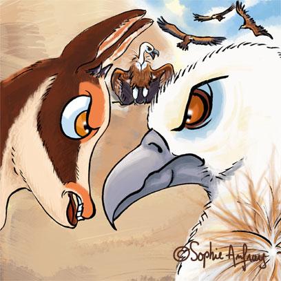 Gros plan sur un face à face entre un vautour et un isard.