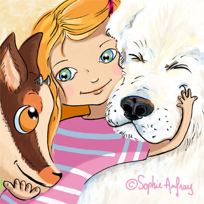 Petite fille qui caline un chien et un isard.