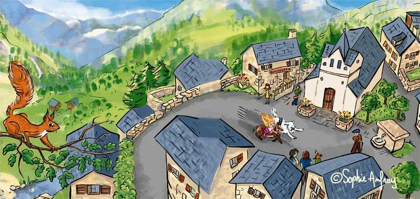 Un village de montagne vu du ciel.