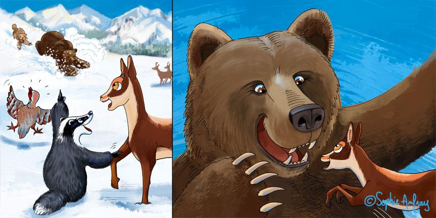 Pitou le petit isard retrouve son ami l'ours.