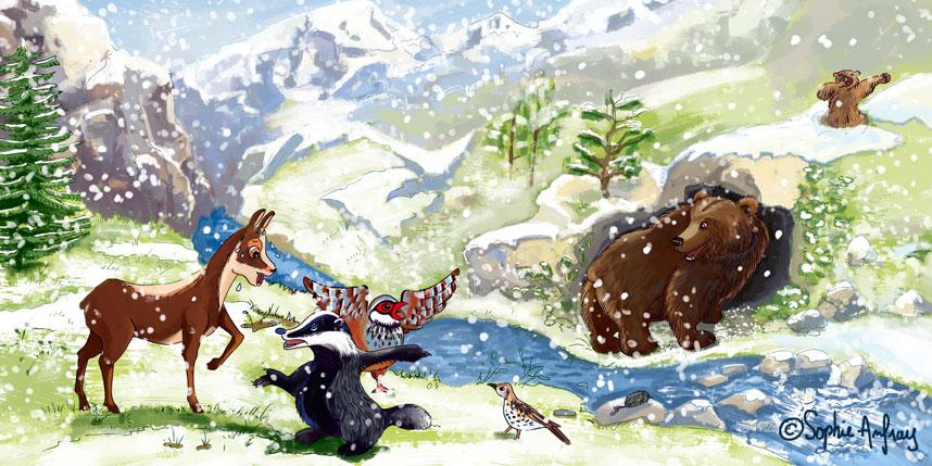 La neige tombe sur les personnages de Pitou le petit isard.