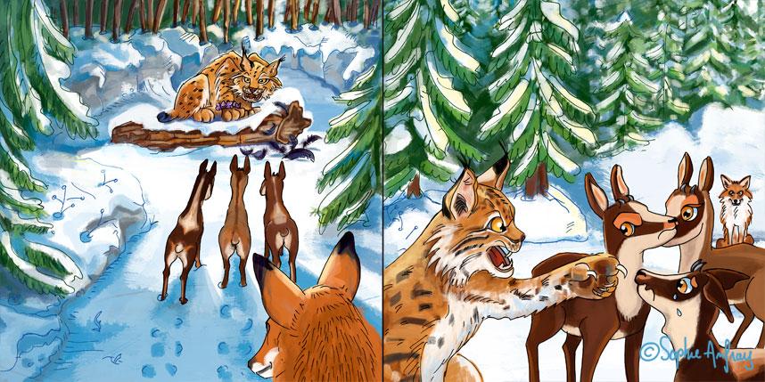 Des isards rencontrent un lynx.