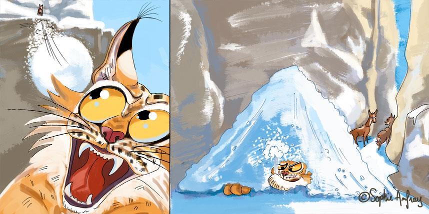 Lynx sous un tas de neige.