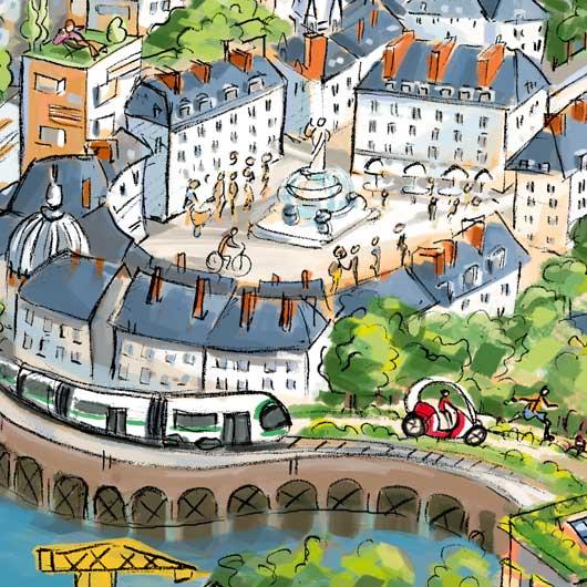 Zoom sur la Place Royale et le tram en bord de Loire.