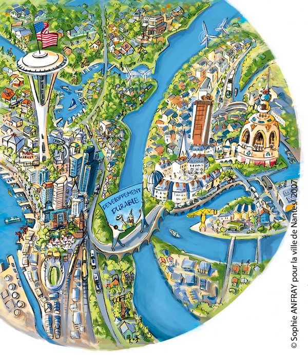Villes de Nantes et Seattle représentées sur une planète avec le pont du développement durable au milieu.