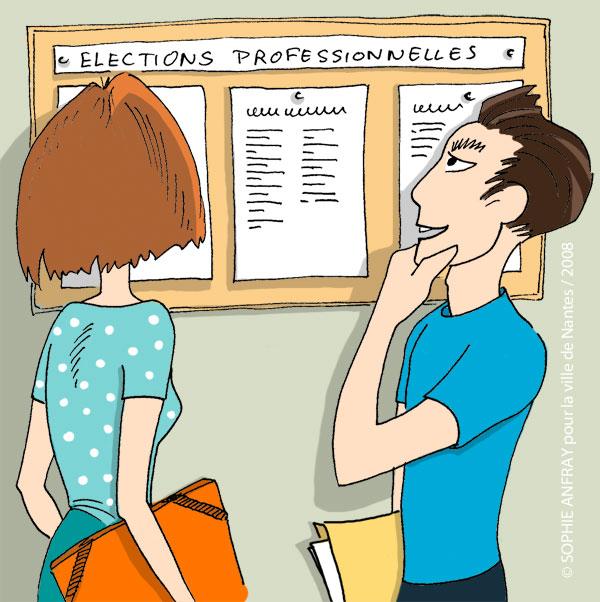 Deux personnes regardent les listes des candidats.
