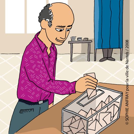 Un homme met son bulletin de vote dans l'urne.