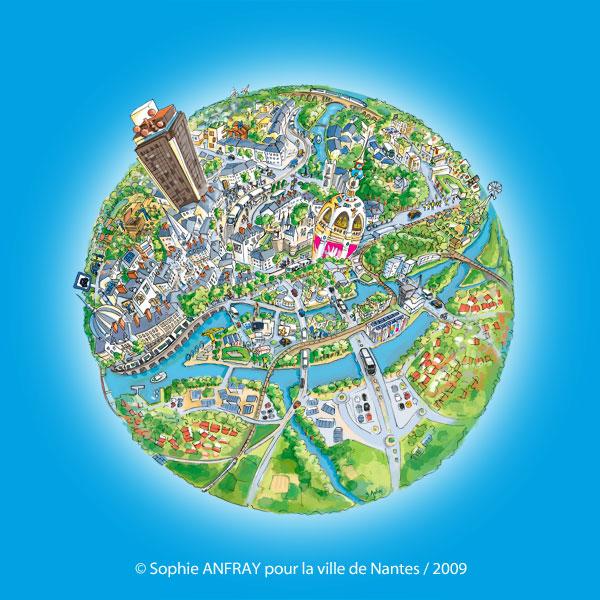 Ville de Nantes dessinée en planète avec zoom sur les actions menées pour le développement durable.
