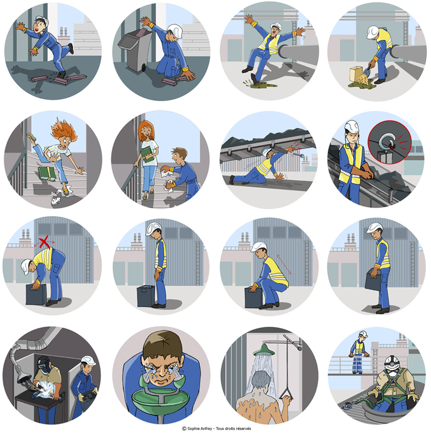 Série de vignettes illustrant les bons gestes pour éviter les accidents du travail.