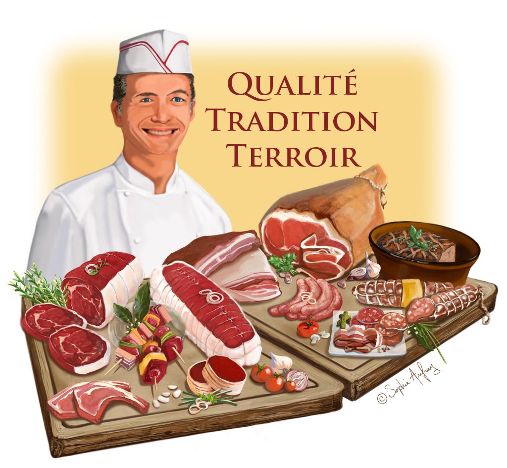 Artisan-boucher présente ses produits.