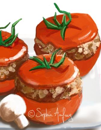 Gros plan sur des tomates farcies.