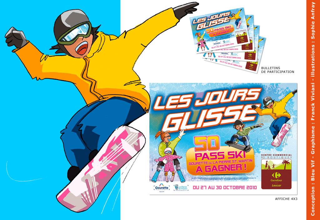 Affiche promotionnelle sur des pass ski à gagner.