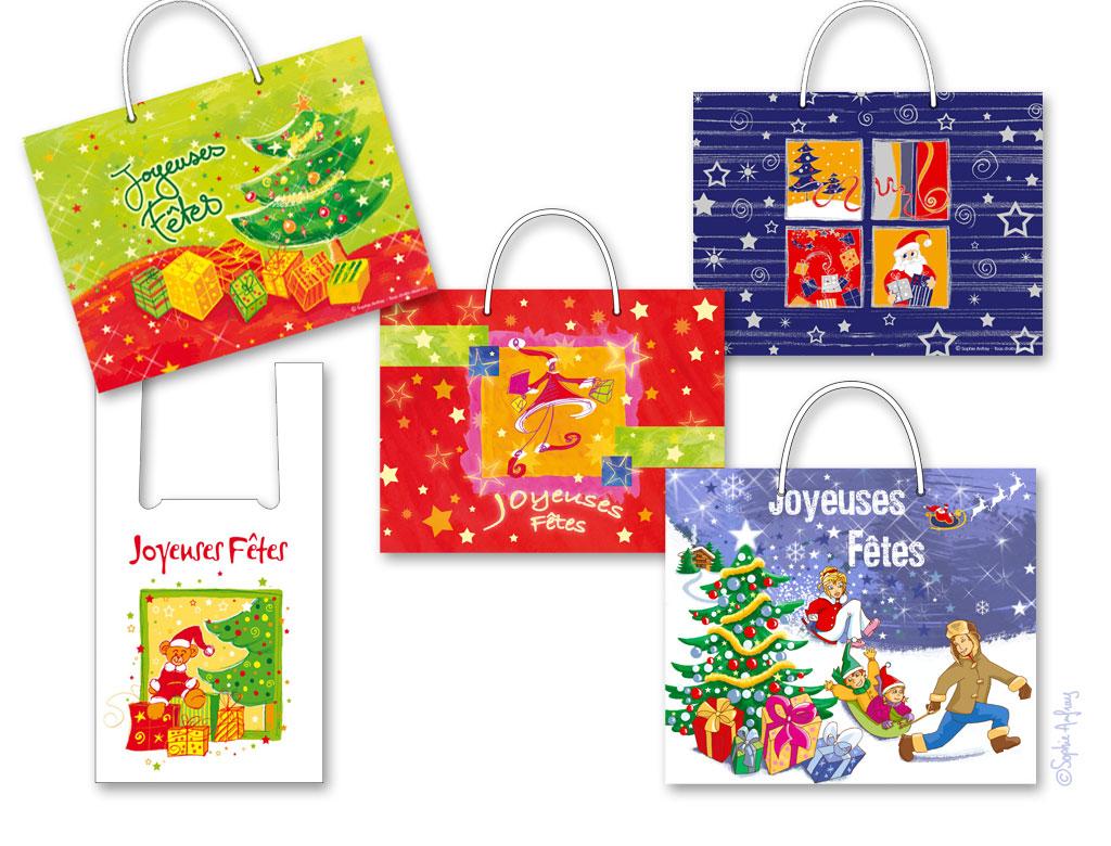 Série de sacs aux motifs de Noël.