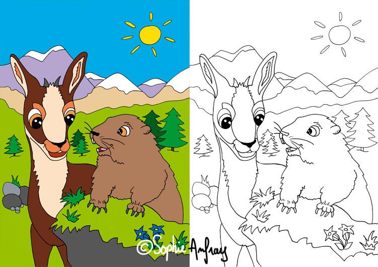 Dessin d'un isard et d'une marmotte dans un décor de montagne.