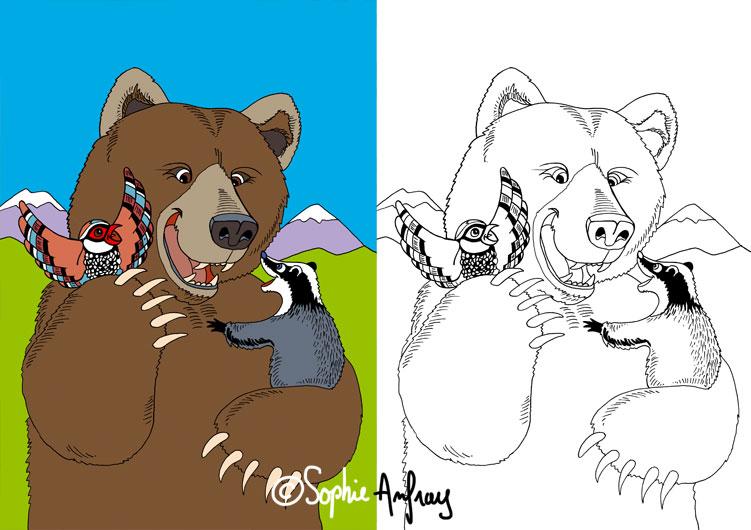 Dessin d'un ours des Pyrénées.