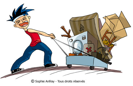 Personnage humoristique tire un chariot plein d'encombrants.