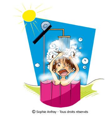 Personnage humoristique sous une douche solaire.