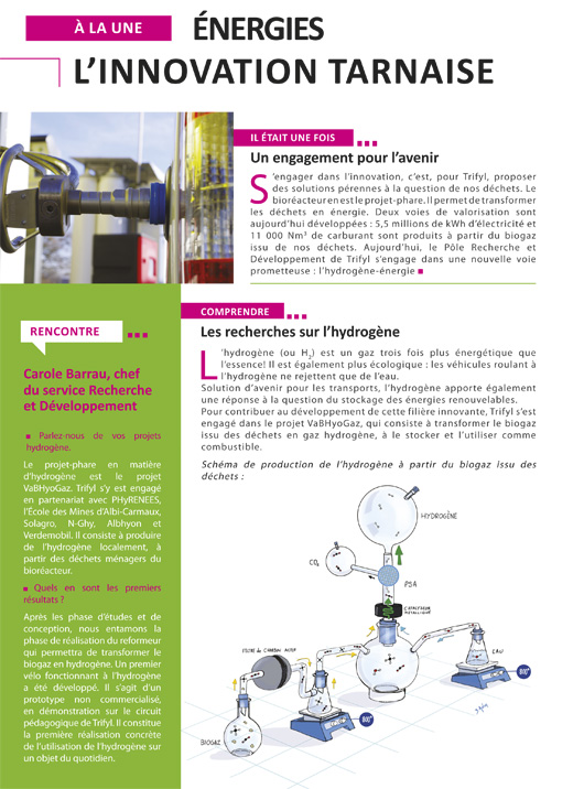 Page de journal avec schéma sur les recherches sur l'hydrogène issu de la biomasse.