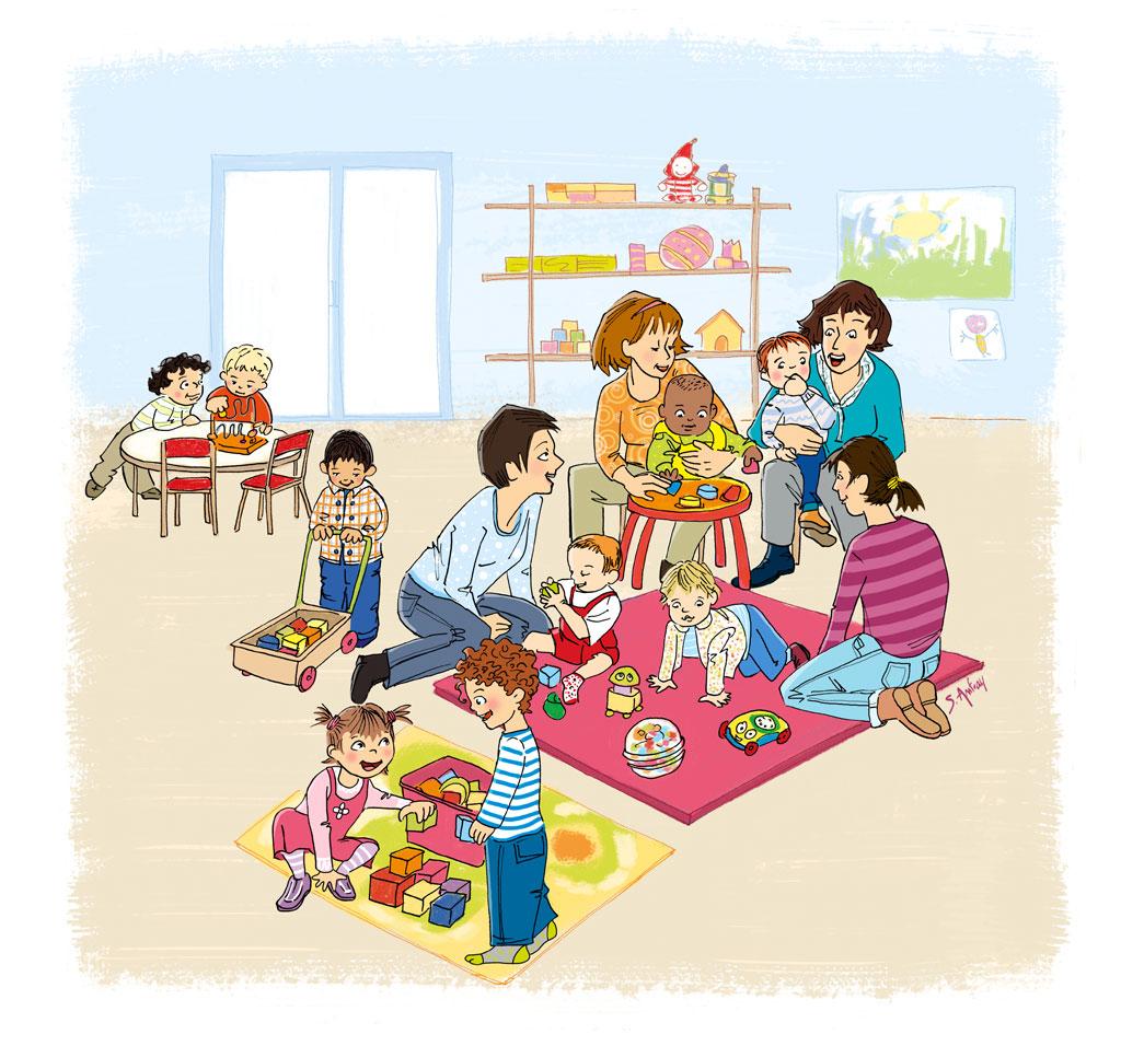 Des enfants et leurs assistantes maternelles dans un relais petite enfance.