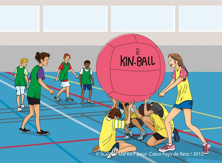 Equipe de Kin Ball en plein jeu.
