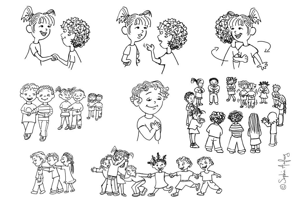 Planche de dessins sur rondes, comptines et jeux dansés extraits d'un recueil pour les maternelles.