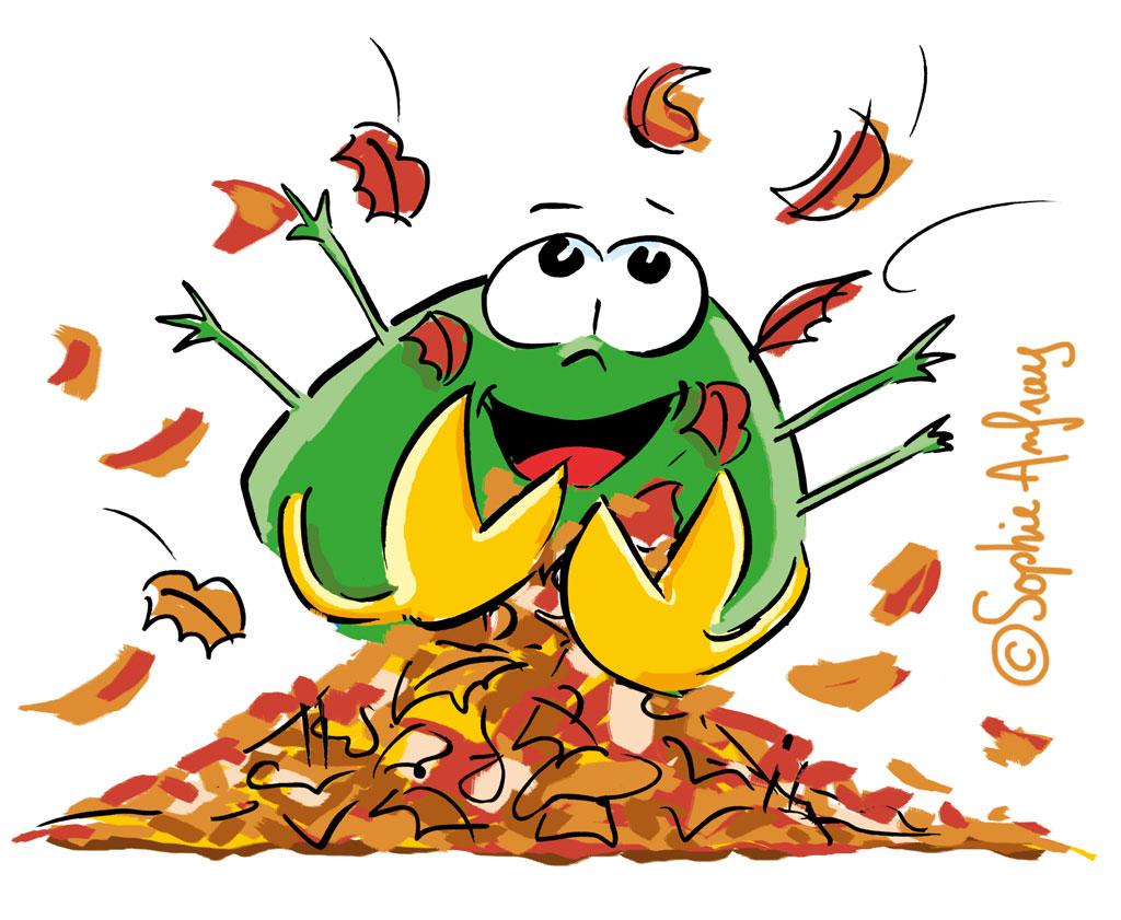 Personnage joue dans les feuilles mortes.