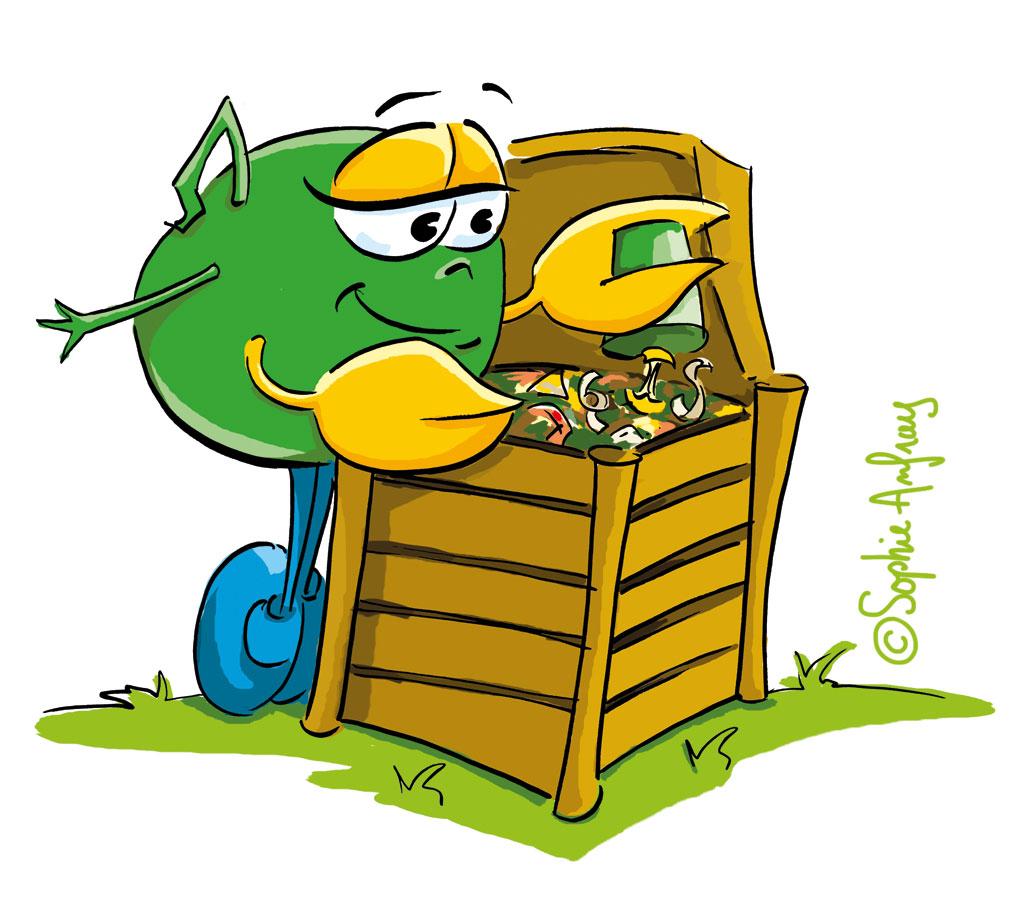 Personnage qui verse des déchets dans un composteur.