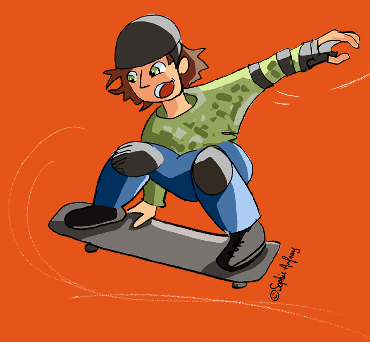 Adolescent sur son skate.