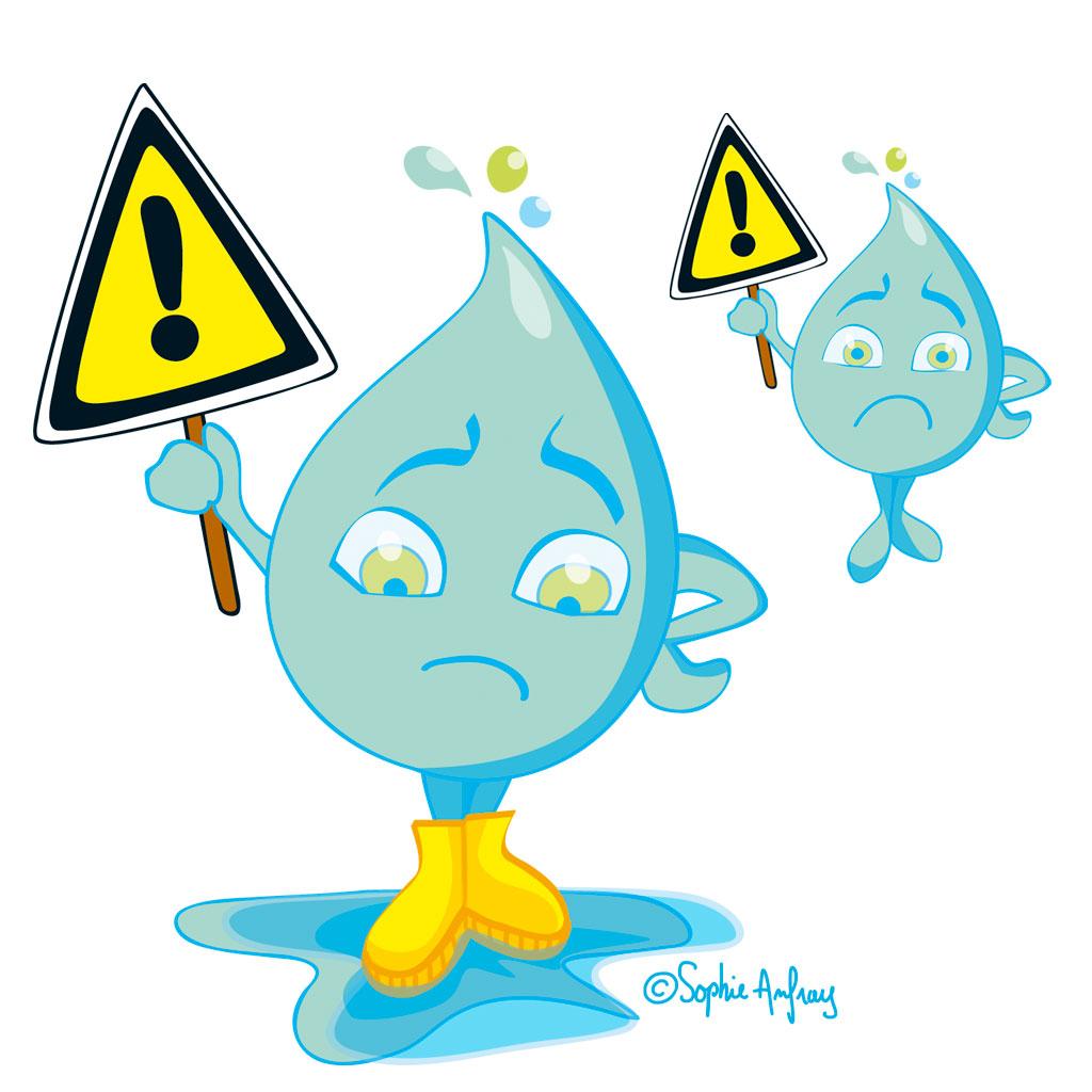 Personnage goutte d'eau avec panneau danger.