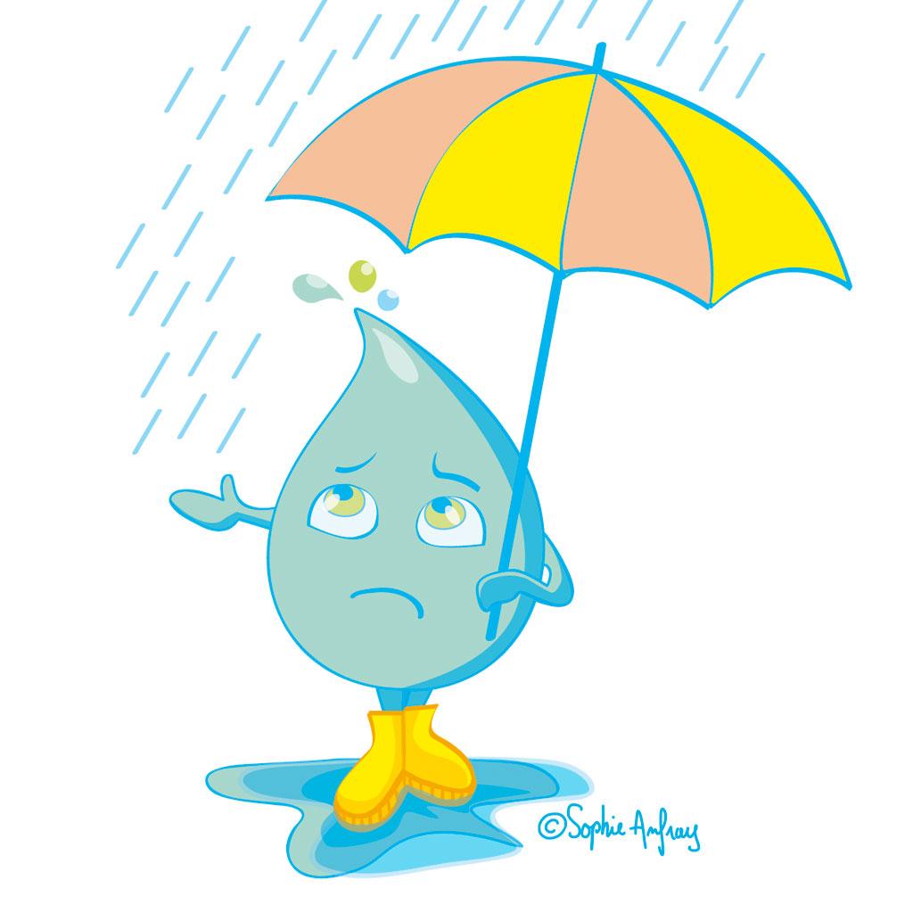 Personnage goutte d'eau avec un parapluie.