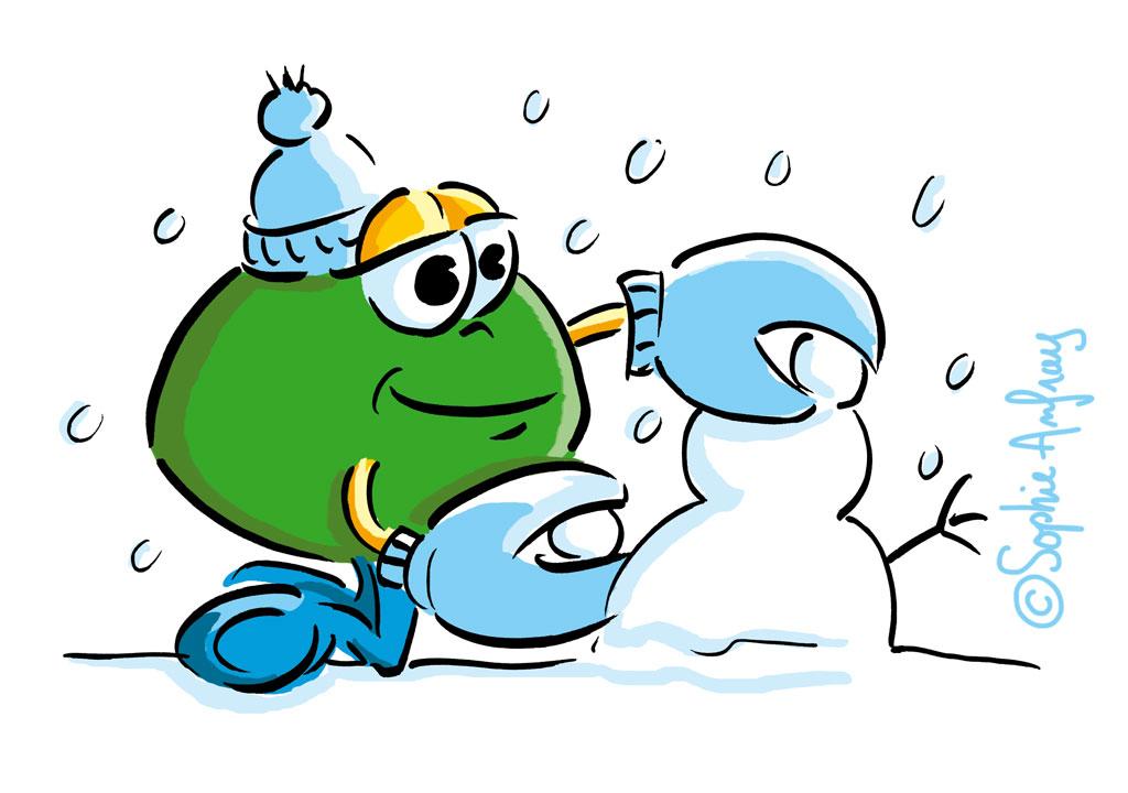 Personnage en train de faire un bonhomme de neige.