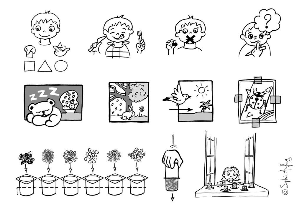 Pictos et dessins pédagogiques extraits d'un fichier d'observation sur la nature.