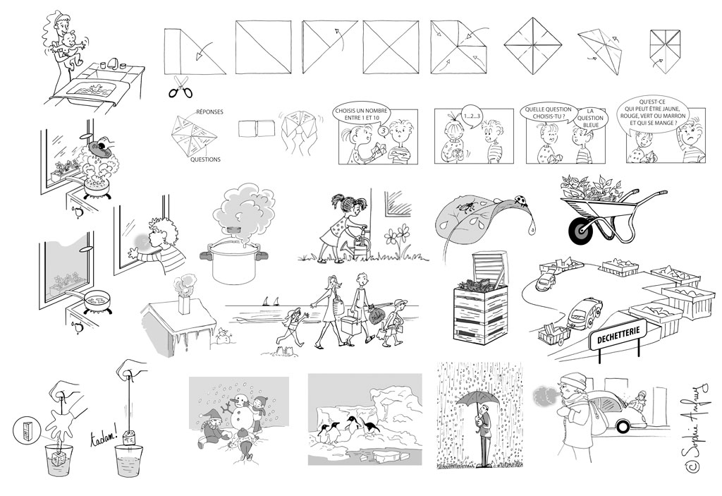 Dessins pédagogiques extraits d'un fichier d'activité sur les sciences et la technologie.