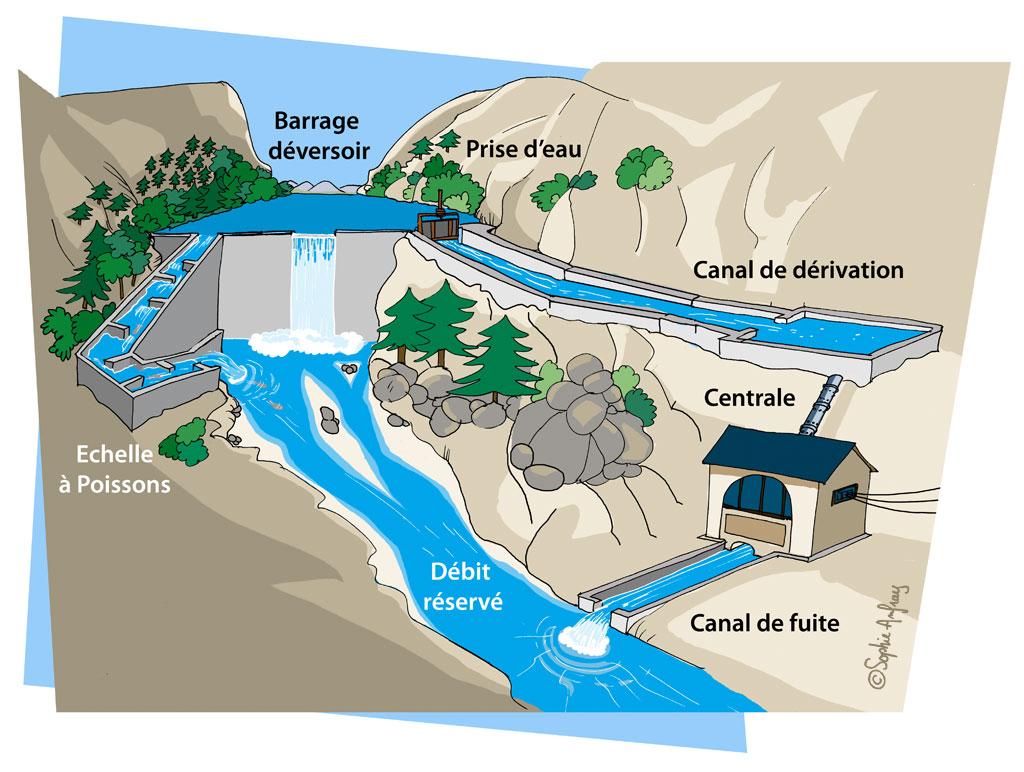 Schéma de fonctionnement d'un barrage avec échelle à poissons.