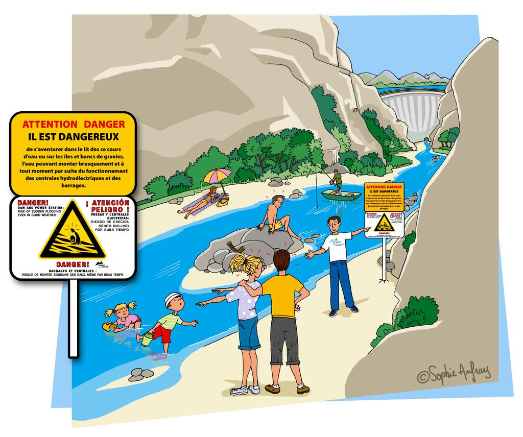 Personne qui montre un panneau danger au bord d'une rivière en aval d'un barrage.